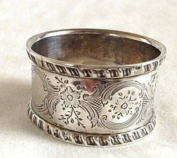 Antique solid silver sterling hallmarked napkin ring London 1902 christening