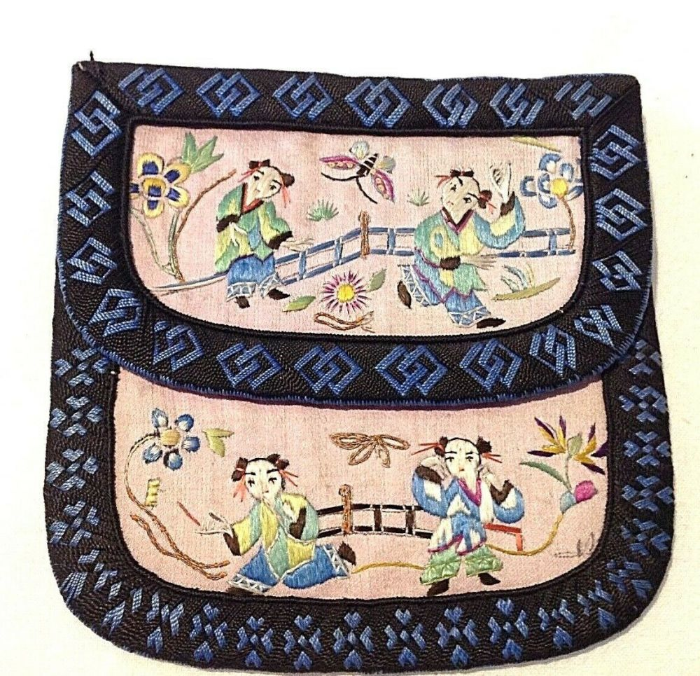 Antique Chinese Embroidered Silk Purse Flowers