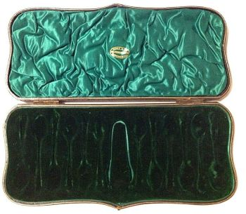 Antique Fitted box Hall & Co Manchester Silver Spoons Sugar Tongs Green Velvet