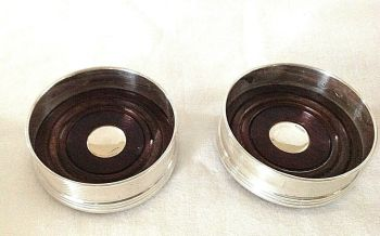 Pair of Hallmarked Sterling Silver Wine Coasters For Wine Bottles