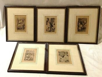 5 antique erotic etchings French Risque pictures dont look if easily offended