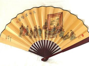 Antique or vintage style printed paper wood sticks Chinese fan charactors signed