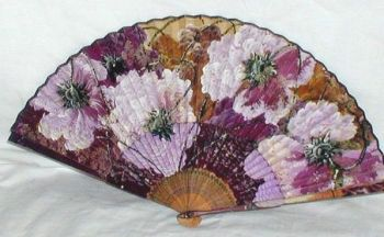 Antique or Vintage Hand Painted over Print Chinese Fan Flower Blossom