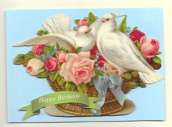 Flower Basket Doves Birthday Card
