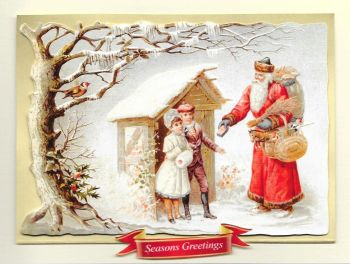 Santa Claus Father Christmas Glittered Greeting Card