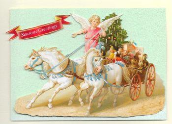 Cherub White Horses Chariot Christmas Glittered Greeting Card