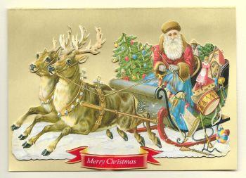 Sleigh Reindeer Father Christmas Glittered Greeting Card