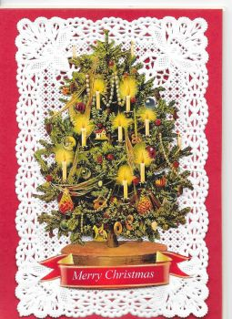 Paper Lace Christmas Tree Victorian Theme Greeting Card