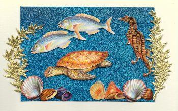 Artisan Greeting Card Happy Birthday Marine Sea Life Fish Turtle Hand Made