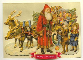 Cherub Santa Claus Reindeer Sleigh Christmas Glittered Greeting Card