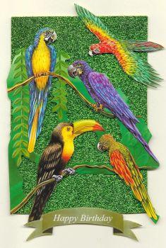 Artisan Greeting Card Happy Birthday Jungle Parrots Birds of Paradise Hand Made