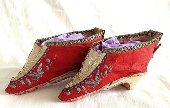 Antique Chinese Red Silk Bound Foot Lotus Shoes Embroidered Flowers Butterflys