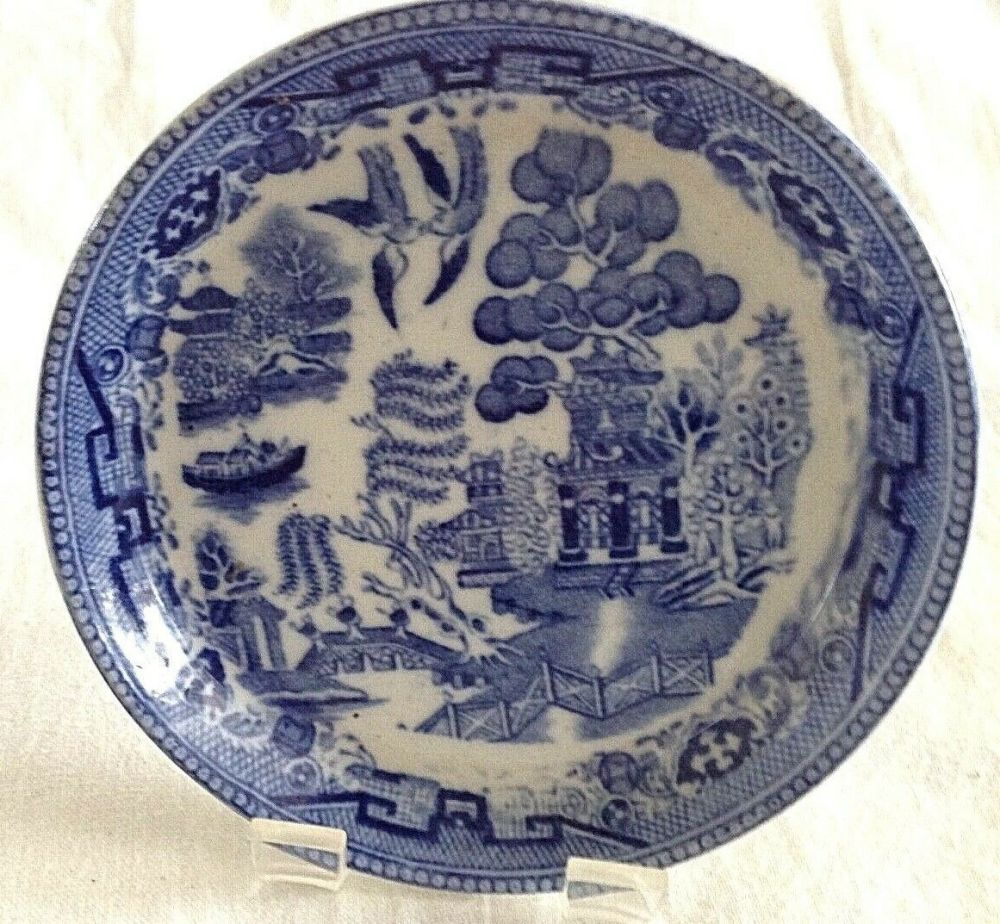 Antique Chinese style willow pattern miniature plate salesmans sample C J S