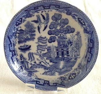 Antique Chinese style willow pattern miniature plate salesmans sample C J Shaw