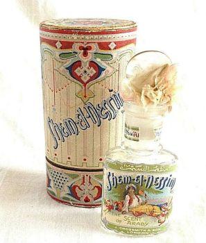 Antique Art Nouveau perfume scent bottle & box Grossmith Shem El Nessim