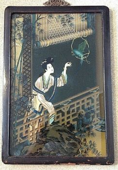 Antique Chinese reverse painting on glass girl feeding a parrott nice subject