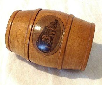 Antique Money box safe mauchline ware treen barrel Archway St Leonard's