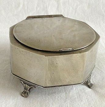 Vintage Art Deco silver plated trinket jewellery box