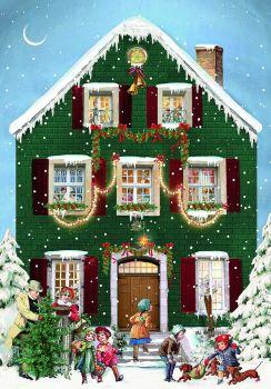 Mini Victorian  house advent calendar Christmas Card