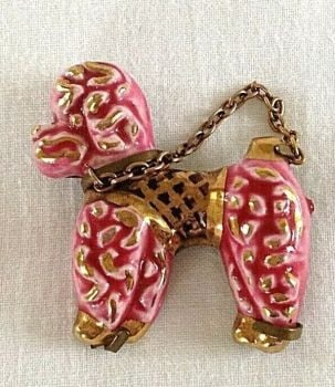 Vintage Costume Jewellery Pink Poodle Ceramic Dog Brooch Pin