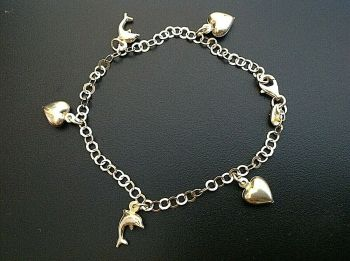Sterling Silver Gilded Charm Bracelet Hearts & Dolphins