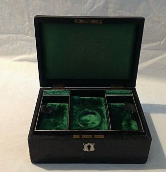 Antique Jewellery box green velvet fitted interior shelf bracelet earrings etc