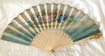 Rare Antique french fan Painted over print with perfume vinaigrette by Rimmel