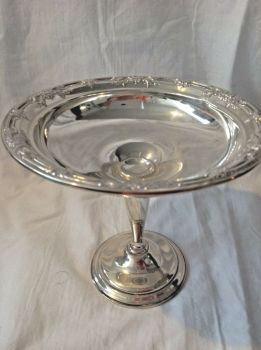 Antique style Sterling silver dish stand wild rose pattern