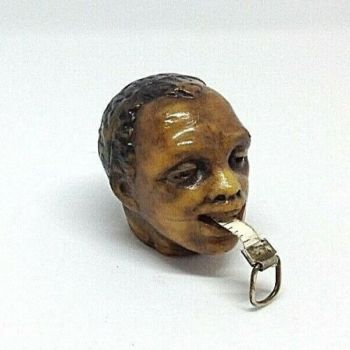 Antique novelty celluloid tape measure Negro Head Tape Intact