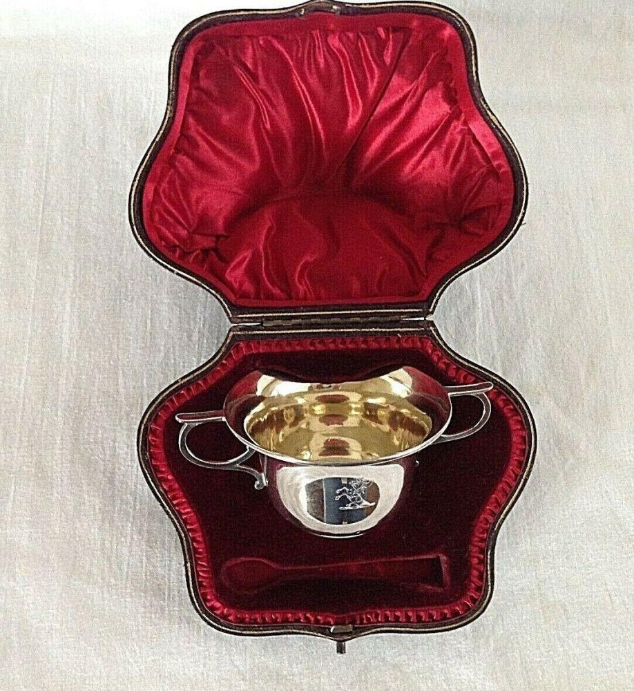 Antique Edwardian Sterling silver salts Salt Dishes & Spoons Hallmarked C19