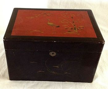 Antique Chinese lacquer tea chest box Stork on Red ground butterflys
