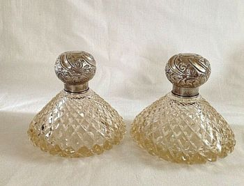 Antique cut glass sterling silver top scent bottle pair hallmarked London 1903
