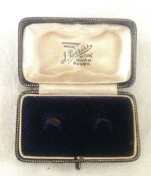 Antique Jewellery Cuff links display box J Parriss Regent St Rugby blue velvet