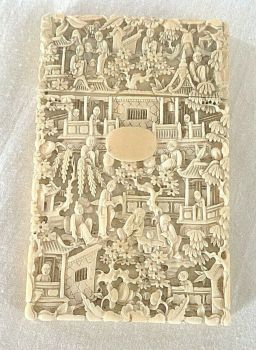 antique carved Chinese card case Immortal Figures flowers birds incredible work
