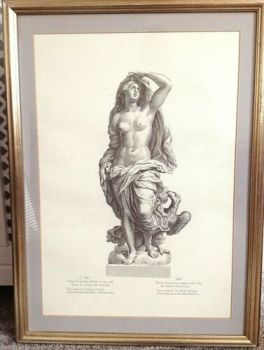 Antique classical print L'air beautifully framed very decorative one of a set