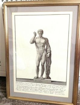 Antique classical print Nude Man beautifully framed very decorative one of a set