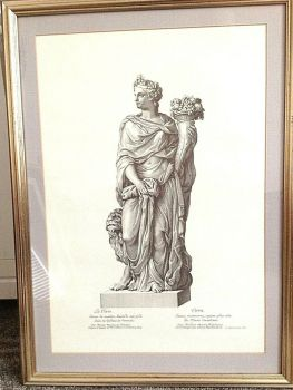Antique classical print La Terre beautifully framed very decorative one of a set