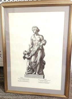 Antique classical print Venus beautifully framed very decorative one of a set