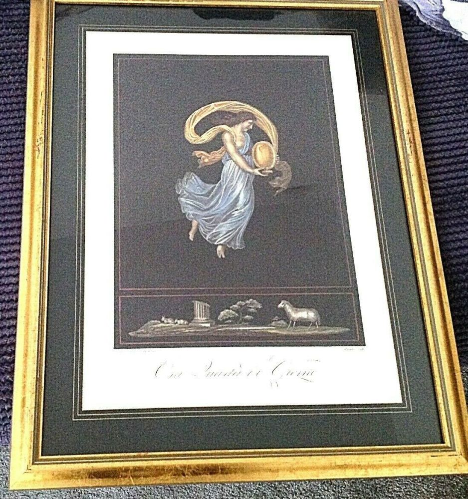 Antique classical print beautifully framed very decorative one of a set