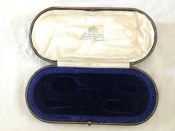 Antique Display Box for silver spoon and fork christening set F E Bowden