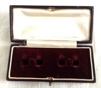Antique leather fitted Display Box cuff links plum red velvet white satin