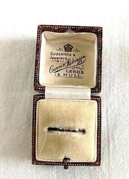 Antique leather fitted Display box ring Owen & Robinson Leeds