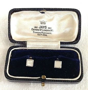 Antique Sterling silver collar studs in fitted display box Jays Oxford St London