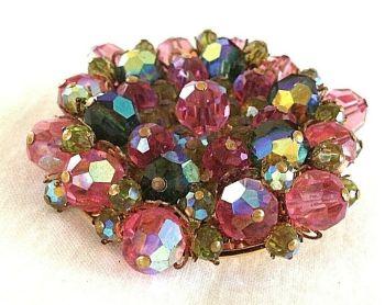 vintage brooch pin Aurora Borealis Crystal Stones watermelon greens and pink 60s