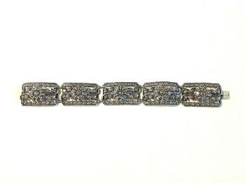 Antique Sterling Silver marcasite bracelet Floral pattern articulated sunflowers