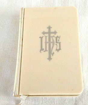 Cream silver writing holy bible vintage prayer book wedding Gift Cambridge books