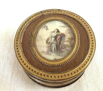 Antique Georgian Tortoiseshell trinket box miniature on wafer
