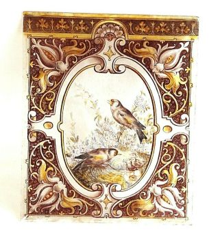 Antique Early Victorian painted stained glass panel Birds & Nest
