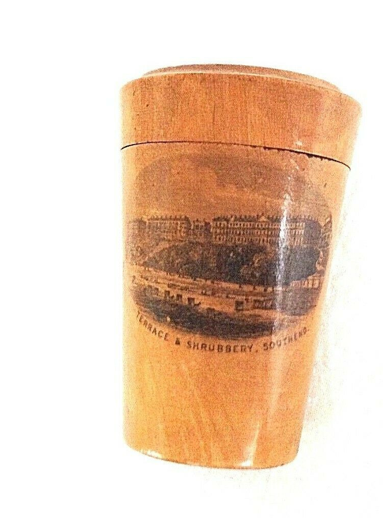 Antique Mauchline ware treen beaker box Terrace & Shrubbery Southend
