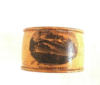 Antique Mauchline ware treen Napkin Ring Edinburgh Castle